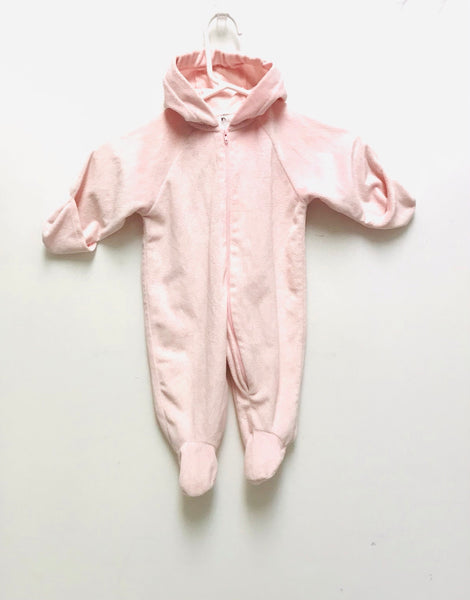 0m 3m 6m / Hooded Pram Suit / Bundle of Joy / Pink Zip-up