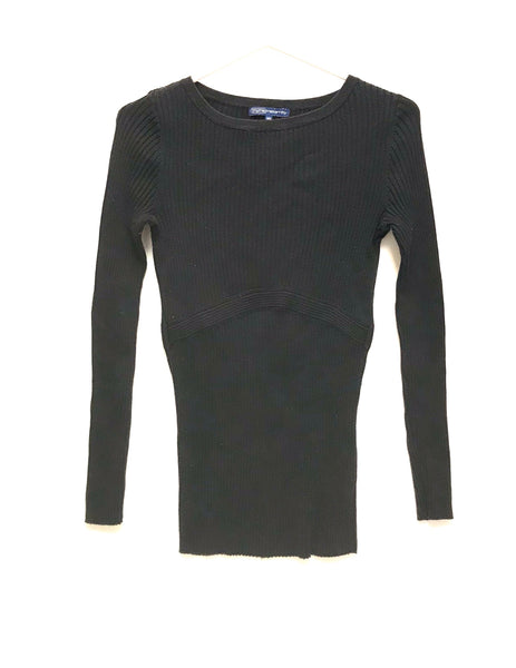 Medium Adult / Long Sleeve Shirt / Thyme Maternity / Black Ribbed