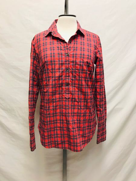 XS Size 00 / Long Sleeve Shirt / J.CREW / Red Plaid Button-Up Collared