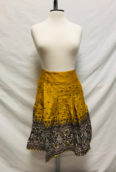 Small / Skirt / Toi Et Moi / Gold Yellow Brown Purple White Pleated Size Zip-Up