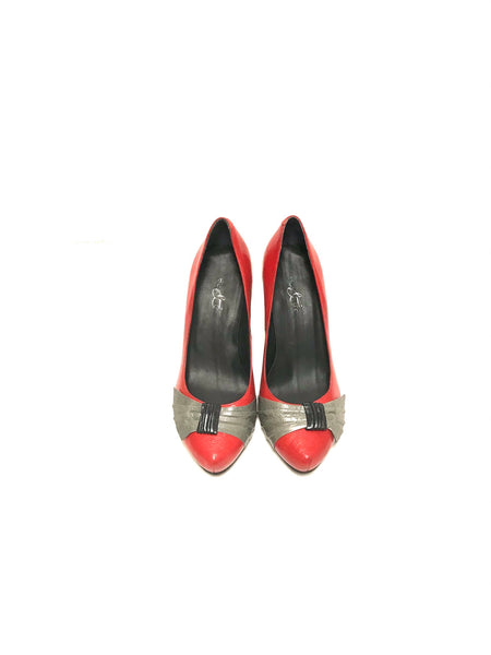 Size 36 Adult / Heels / Bos. & Co. / Red w Grey Black 3 Inch