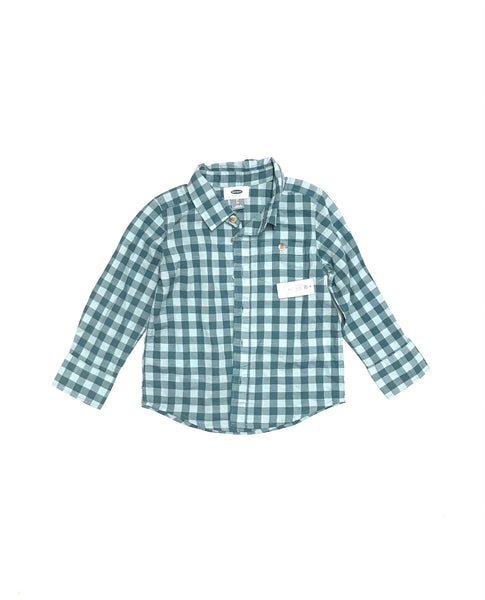 3T / Long Sleeve Shirt / Old Navy / Blue Checkered Collared Button-Up