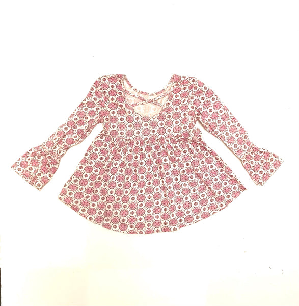 4T / Long Sleeve Shirt / Old Navy / White w Pink Flowers Criss-Cross Back