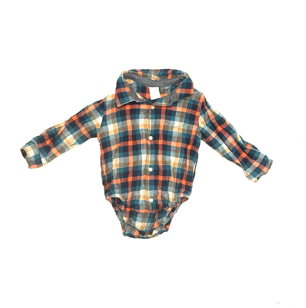 18m 2T / Long Sleeve Onesie / Gymboree / Orange Blue Tan Plaid Button-Up Collared