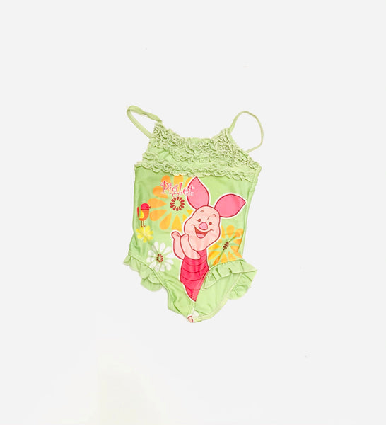 2T / Swim Suit / Disney / Piglet Green Ruffles Bird Flowers