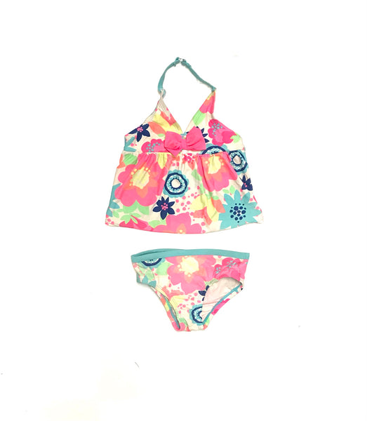 12m 18m / Swim Suit / Children's Place / Bikini Halter Two-Piece Neon w Bow and Flowers