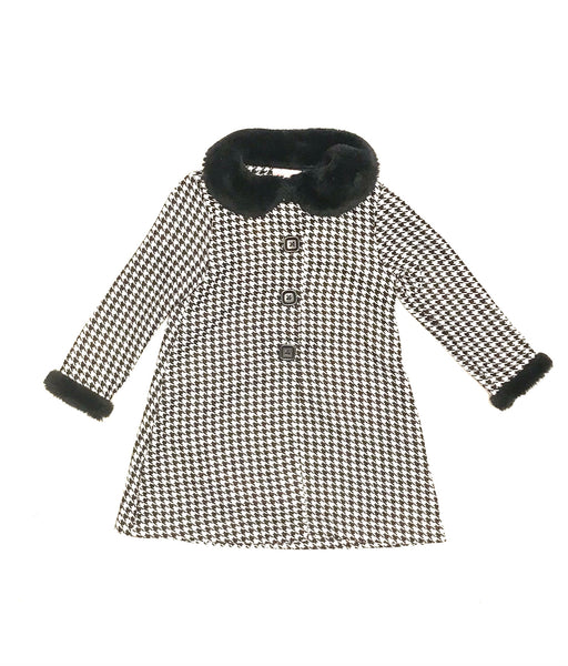 3T / Dress Coat / Youngland / Black White Houndstooth Black Faux Fur Collar Button-Up