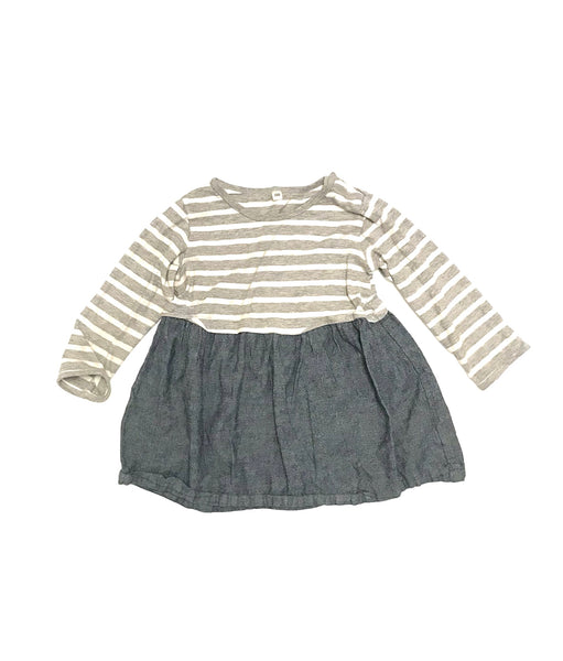 3T 4T / Long Sleeve Dress/ Muji / Grey White Strips Denim Skirt