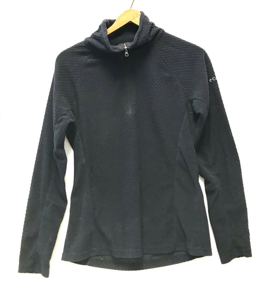 Medium / Long Sleeve Fleece Shirt / Columbia / Black Pullover w Zip