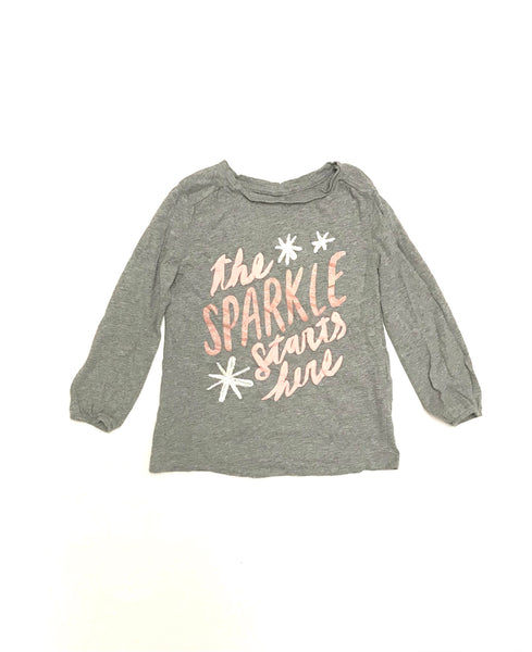 4T / Long Sleeve Shirt / Joe Fresh / Light Grey w Pink Sparkles The Sparkle Starts Here