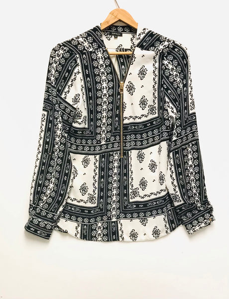 Medium Size 10 / Long Sleeve Blouse / River Island / Black White Paisley Gold Zipper
