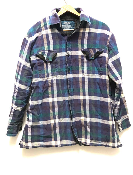 Large / Quilted Flannel Shirt / Mel Mat / Blue Purple Green White Plaid