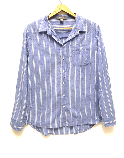 Small Size 6 / Long Sleeve Shirt / Primark / Button-Up Collared Blue w White Stripes