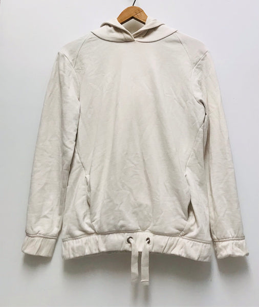 Small / Long Sleeve Hoodie / Next / White Crème Kangaroo Pocket Elastic Waist