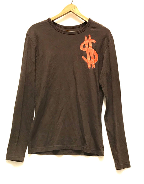 Large / Long Sleeve Shirt / Zara Music Culture / Brown w Orange Dollar Sign