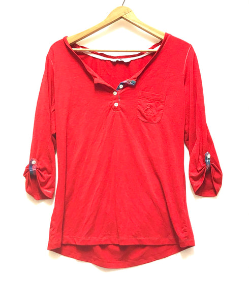 Medium/ Elbow Sleeve Shirt / Tu / Red Henley