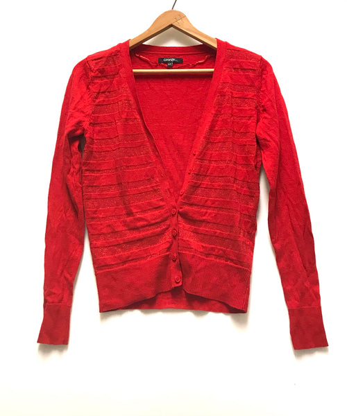 Small / Cardigan / George / Red Button-Up Sparkle Stripes