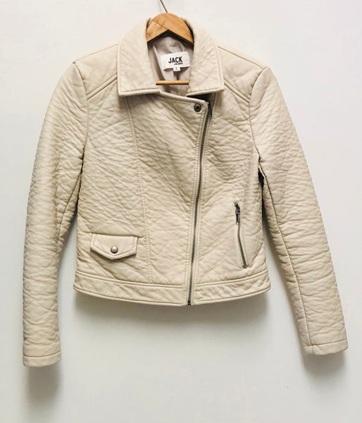 Small / Faux Leather Jacket / Jack by BB Dakota / Creme Zip-Up