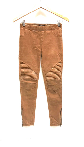 Medium / Pants / Beulah / Ankle Zip Moto Pant Elastic Waist Carmel Brown