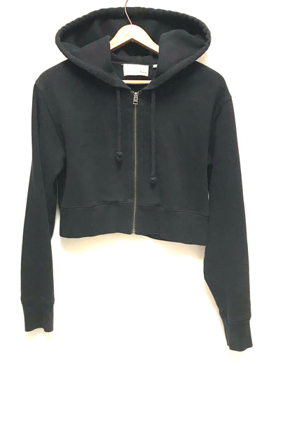 XS / Crop Top Hoodie / Wifred Free Aritzia / Black Zip-Up