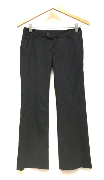 XS 0P / Dress Pants / Banana Republic / Black Pinstripe Flared Zip-Up