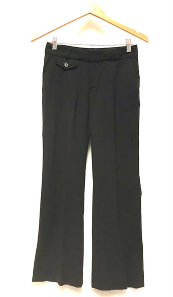 XS Size 0 / Dress Pants / Banana Republic / Black Harrison Fit Zip-Up Flared w Pockets