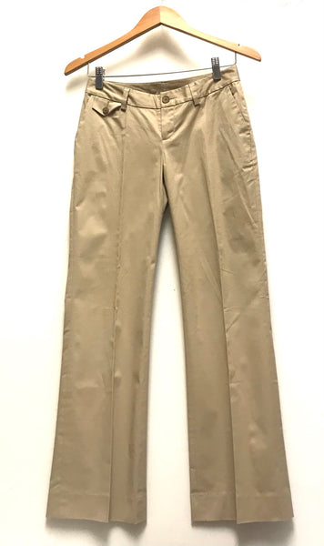 XS 0P / Dress Pants / Banana Republic / Khaki Martin Fit Stretch w Pockets Zip-Up