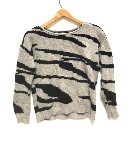 Small / Long Sleeve Shirt / Forever 21 / Grey Zebra Striped Sweater