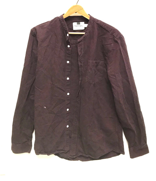Medium / Long Sleeve Shirt / Topman / Maroon Button-Up