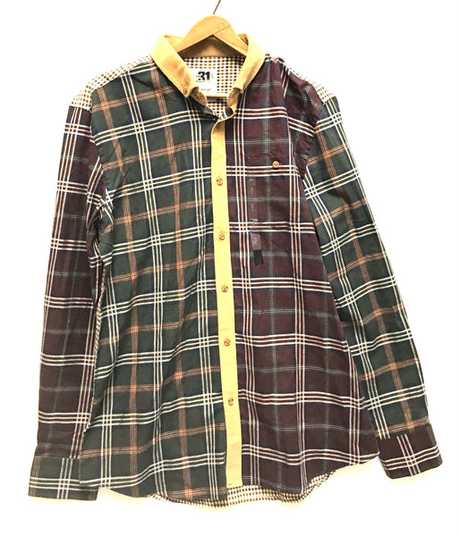 Large / Long Sleeve Shirt / Simons / Button-Up Collared Maroon Green Plaid