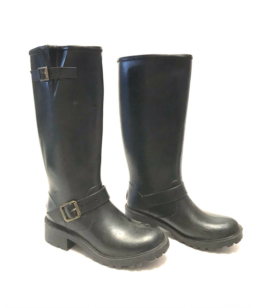 Size 8 Adult / Rubber Boots / Dav / Black w Adjustable Buckles