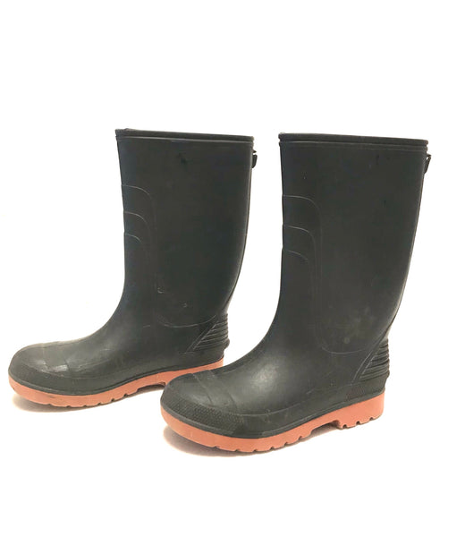 Size 3 Youth 5 Female Adult / Rubber Boots / Black w Brown Sole