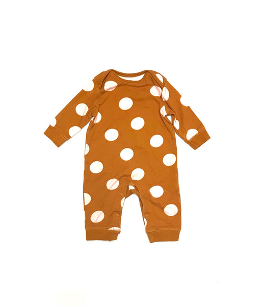 3m 6m / Long Sleeve Onesie / Old Navy / Caramel w Pink Dots Snap-Up Legs
