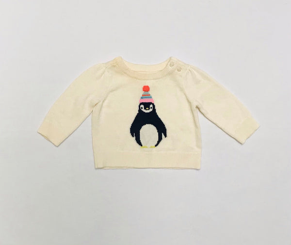 0m 3m / Long Sleeve Sweater / Baby Gap / White w Penguin Knitted
