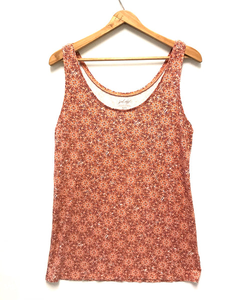 XL / Tank Top / Lord & Taylor / Salmon Pink Maroon Flowers
