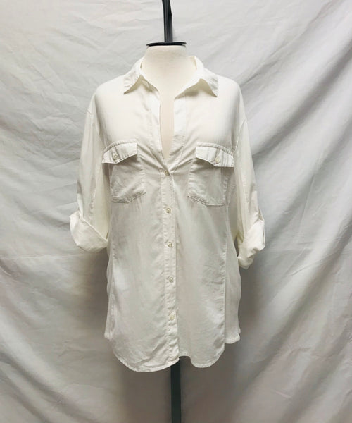 Small Size 4 / Button-Up Shirt / James Perse / White Sheer Slub Side Panel Shirt