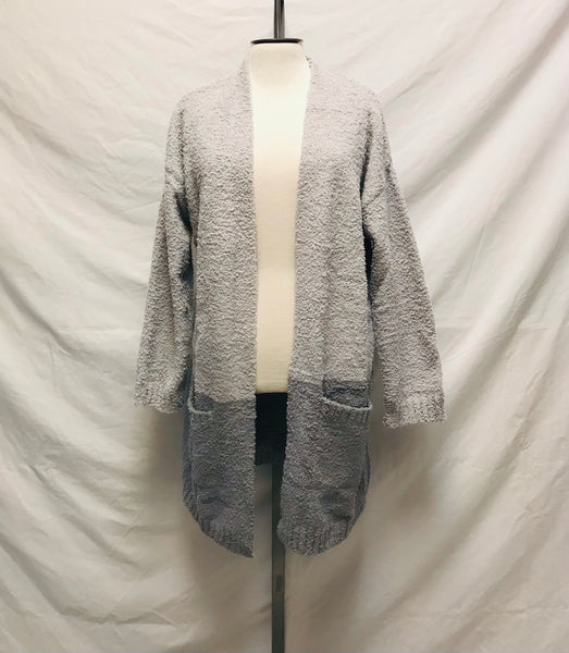 Small Medium Large / Cardigan / Thread & Supply / Grey Cozy Cloud Wrap Open Front w Pockets