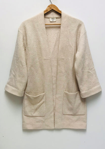XXS / Wool Cardigan / Aritzia Wilfred / Creme Brullon Sweater Structured Open Front