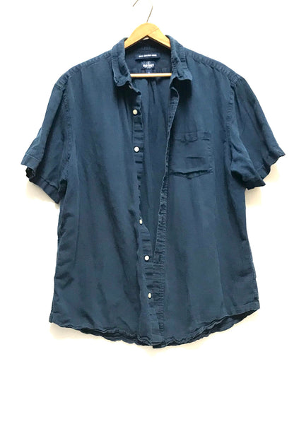 XL / Short Sleeve Shirt / Old Navy / Blue Button-Up Collared Slim Fit