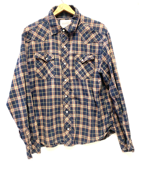 XL / Long Sleeve Shirt / Denver Hayes Vintage / Navy Blue Caramel Plaid Snaps Collared