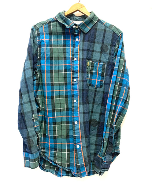 XL / Long Sleeve Shirt / Five Four Mark Mcnairy / Green Blue Orange Plaid Collared Button-Up