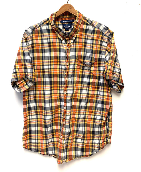 XL / Short Sleeve Shirt / Old Navy / Button-Up Collared Yellow Orange Black Plaid