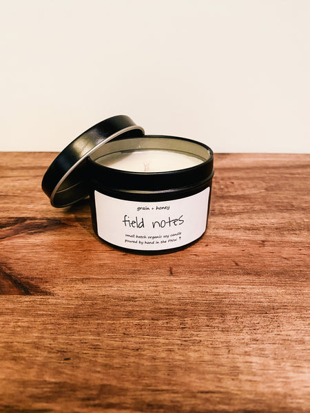 Candle / Organic Soy / Field Notes / 4oz / Cotton Wick