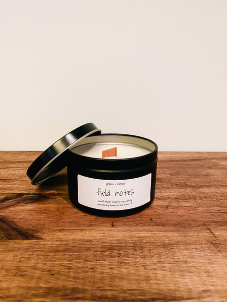 Candle / Organic Soy / Field Notes / 8oz / Wood Wick
