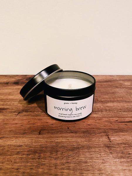 Candle / Organic Soy / Morning Brew / 4oz / Cotton Wick