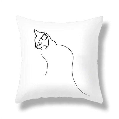 Coussin Visage de Chat en Trait