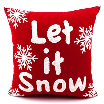 "Coussin de Noël Rouge ""Let it Snow"""