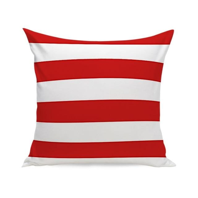 Coussin Rayures Rouges et Blanches