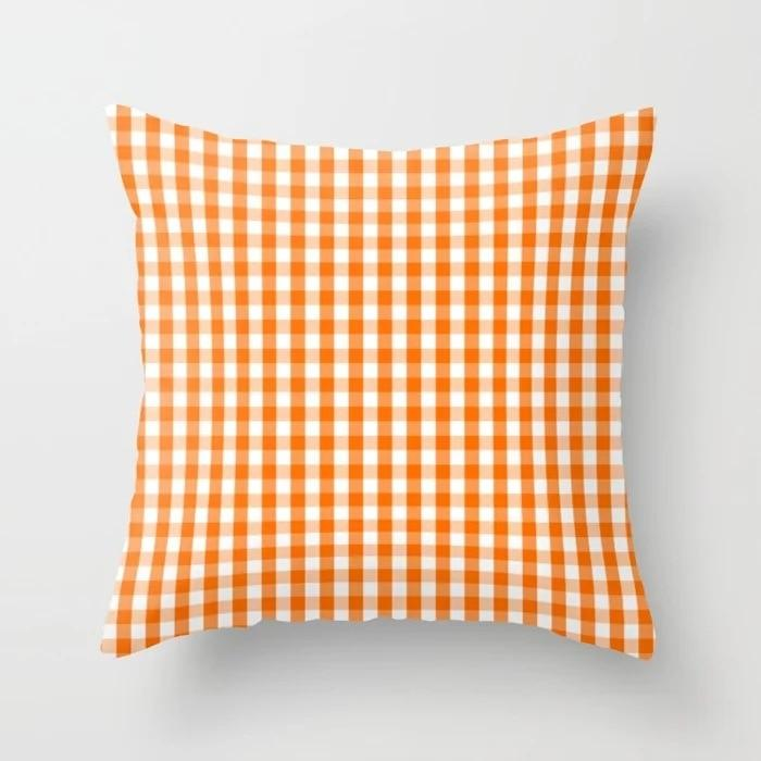 Coussin à Carreaux Orange