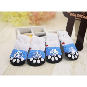 4pcs Warm Puppy Dog Shoes Soft Acrylic Pet Knits Socks Cute Cartoon Anti Slip Skid Socks For Small Dogs Pet Products S/M/L - dog lovers